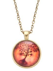 Vintage Tree Print Glass Pendant Necklace