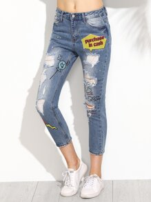 Blue Print Button Ripped Jeans