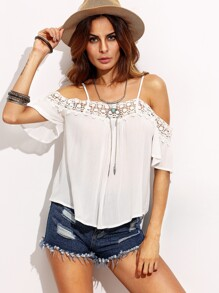 White Crochet Trim Cold Shoulder Top