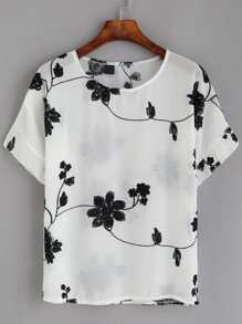 White Flower Embroidered Chiffon Top