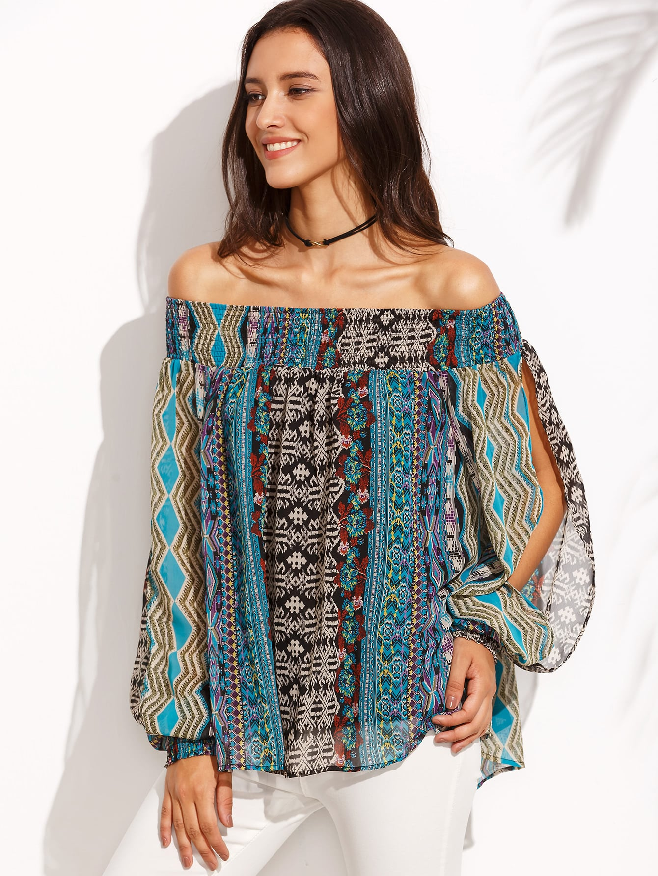 Фото Print Shirred Bardot Split Sleeve Blouse. Купить с доставкой