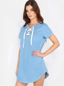 Light Wash Lace Up Denim Dress DENIM