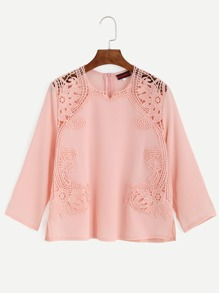 Pink Embroidered Lace Applique Blouse