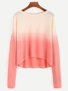 Contrast Ombre Drop Shoulder High Low T-shirt