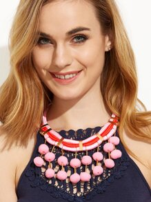 Pink Pom Pom Pendant Statement Necklace