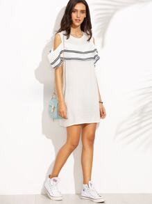 White Open Shoulder Striped Ruffle Dress