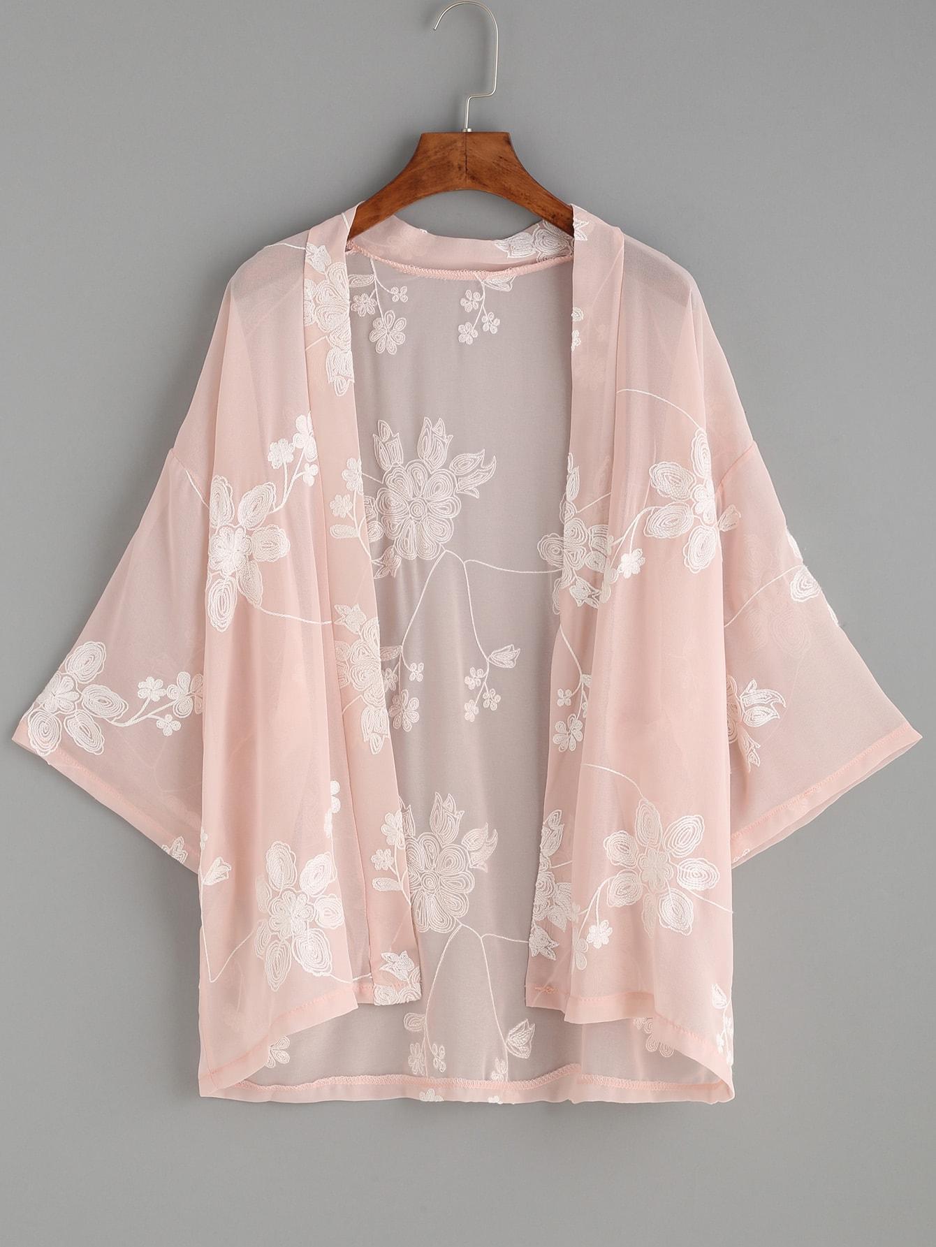 Pink Flower Embroidered KimonoPink Flower Embroidered Kimono<br><br>color: Pink<br>size: one-size