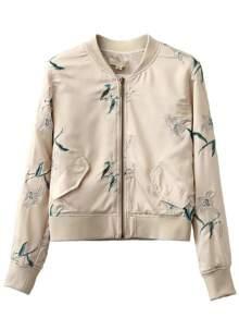 Apricot Crew Neck Embroidery Pocket Jacket