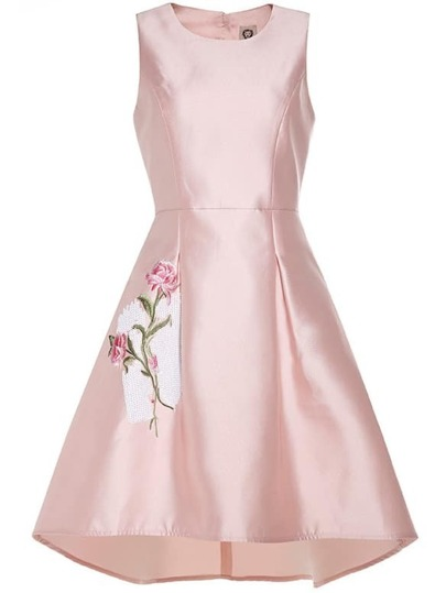 Pink Flower Embroidered High Low Dress