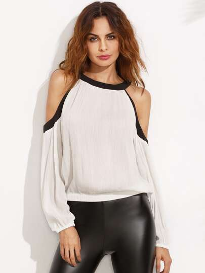Contrast Trim Cold Shoulder Blouse