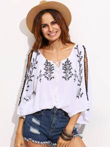White Split Shoulder Tie Neck Embroidered Blouse