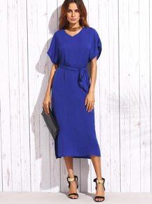 Blue Self Tie Mesh Insert Flutter Sleeve Dress