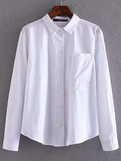 White Lapel Pocket Plain Blouse