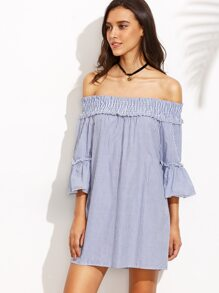 Blue Vertical Striped Smocked Off The Shoulder Dress