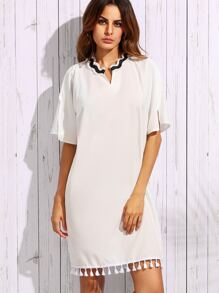 White Striped Frill Collar Tassel Trim Dress