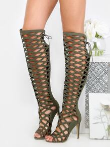 Stiletto Lattice Thigh High Heels SAND