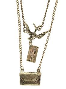 Collier double rang avec pendentif enveloppe et oiseau
