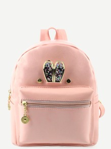 Pink Metal Rabbit Ear Embellished Backpack