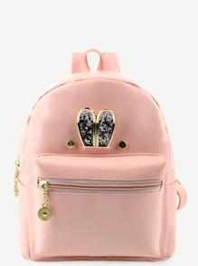 Pink Metal Rabbit Ear Embellished Backpack