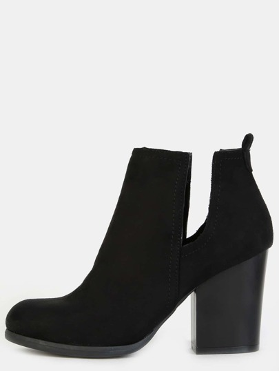 Faux Suede Block Heel Ankle Boots BLACK