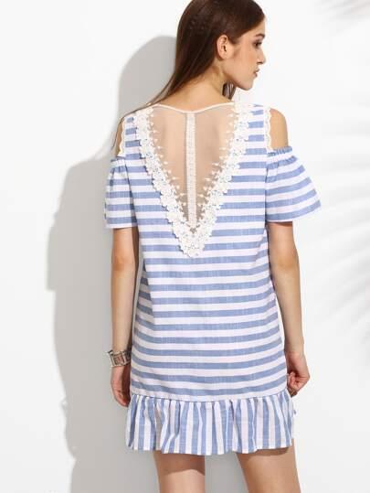 Сине-белое полосатое платье с открытыми плечами