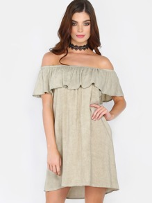Ruffle Off the Shoulder Dress SAGE
