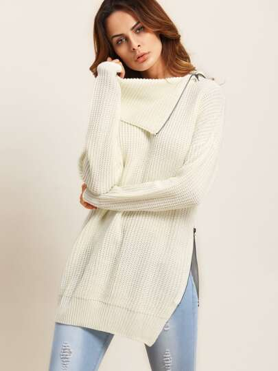 Lapel Zipper Detail Split Side Sweater
