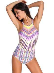 Tribal Print Crisscross One Piece Swimwear
