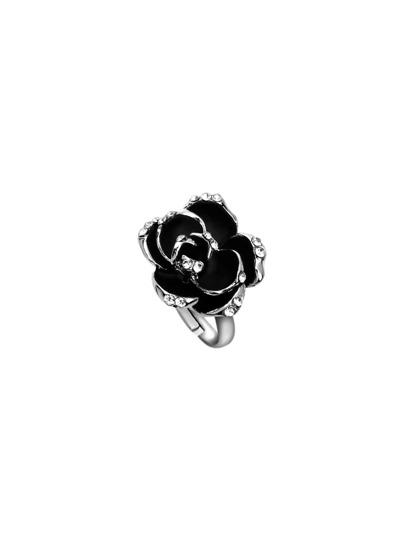 Silver Enamel Rose Ring