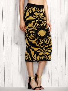 Contrast Flower Pattern Split Knit Pencil Skirt