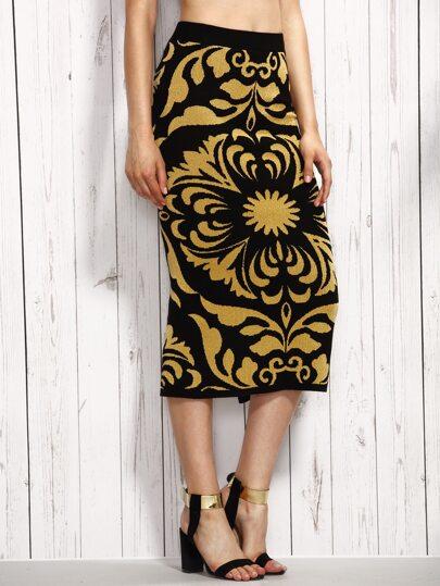 Jupe motif fleuri avec fentes - jaune