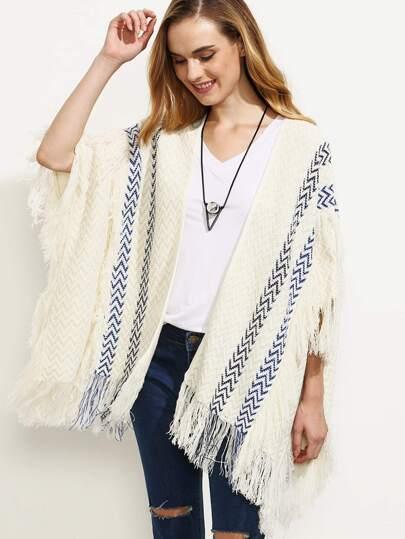 Beige Tassel Split Side Cardigan Sweater