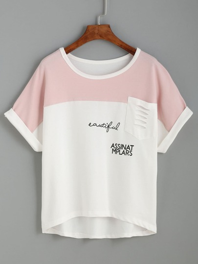 White Contrast Yoke Ripped Pocket T-shirt