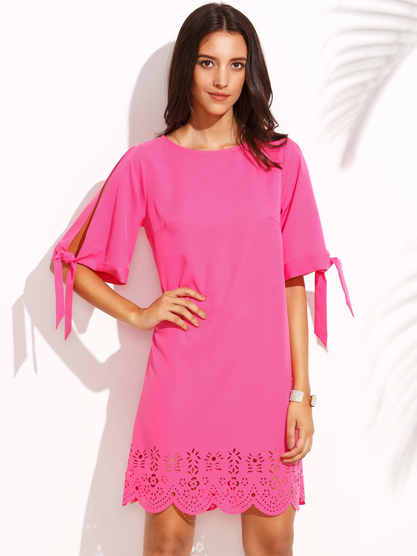 Hot Pink Tie Cuff Scallop Hem Shift Dress dress160729712