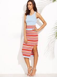Striped Cross Back Knitted Top With Slit Ribbed Skirt
