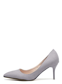 Grey Faux Suede Pointed Toe Stiletto Heels