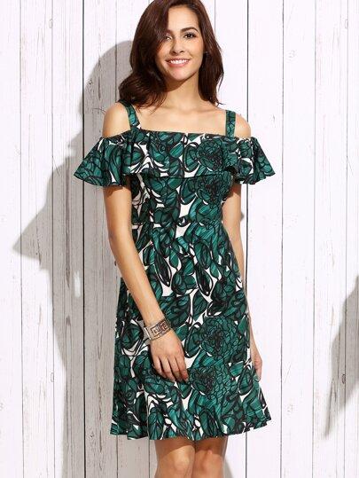 Green Open Shoulder Floral Fishtail Dress