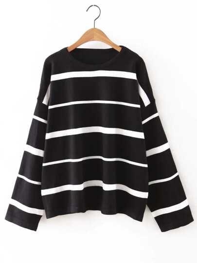 Black Round Neck Stripe Sweater