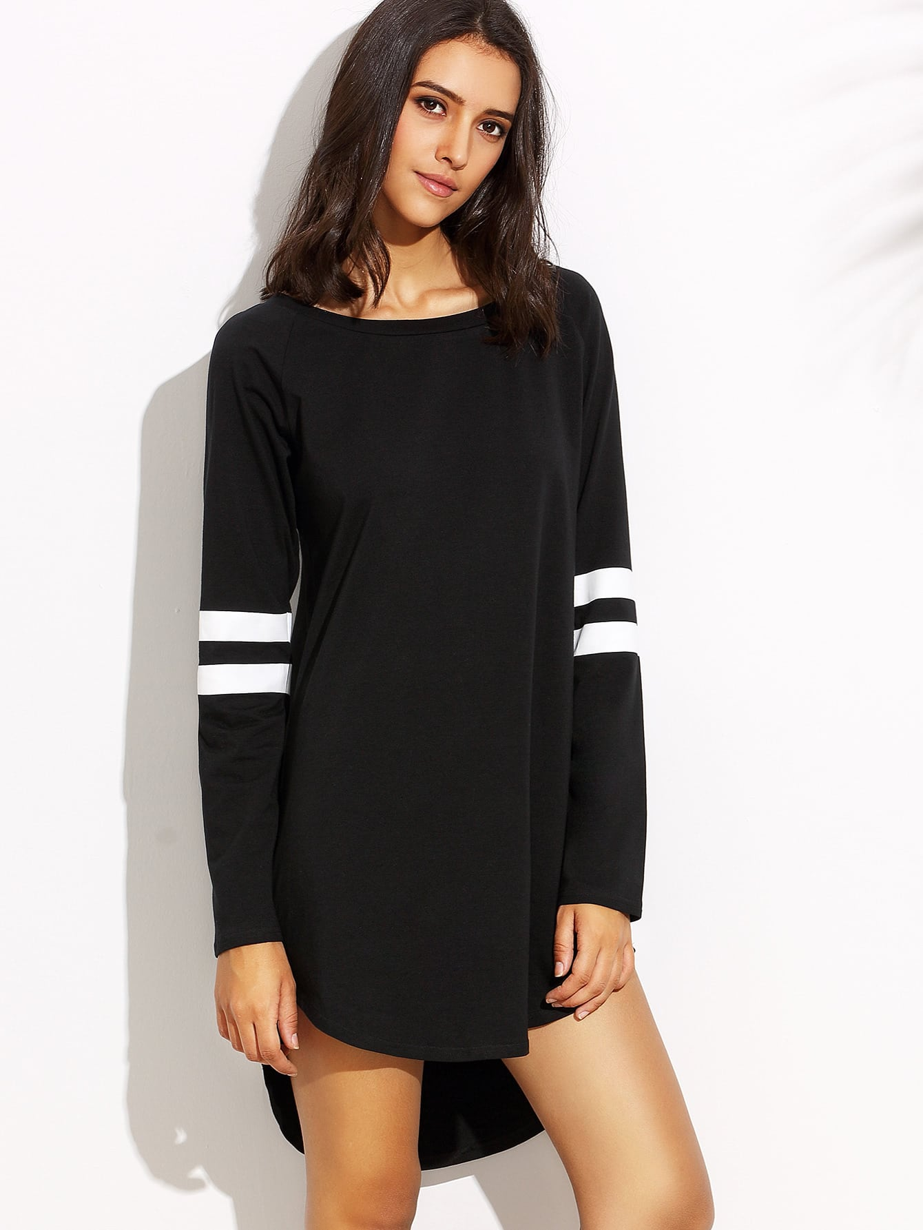 Varsity Striped Dip Hem Tee Dress dip hem tee dress
