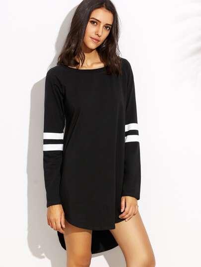 Kleid Langarm Vorne Kurz Hinten Lang - schwarz und weiß