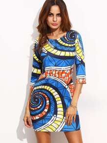 Spiral Print Sheath Dress