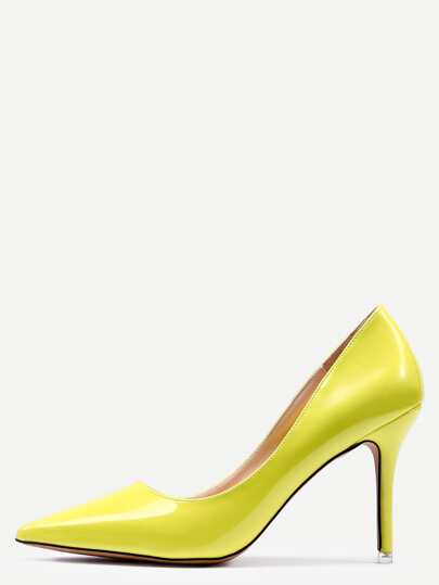 Yellow Pointed Faux Leather Stiletto Pumps