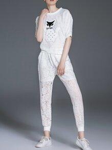 White Cat Applique Pouf Lace Top With Pockets Pants