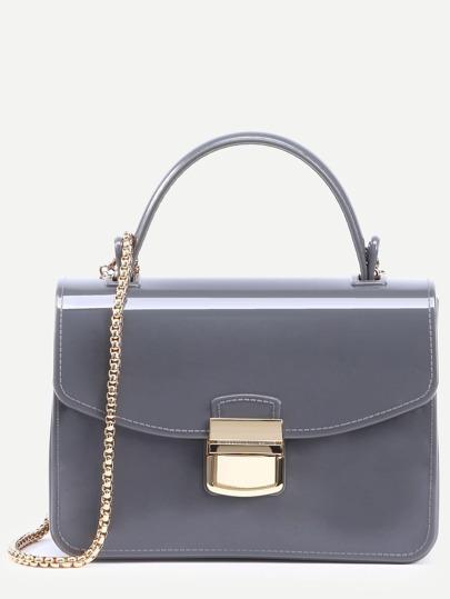 Grey Pushlock Closure Plastic Handbag With Chain