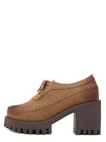 Brown Round Toe Lace-up Chunky Pumps