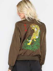 Silk Tiger Bomber Jacket OLIVE