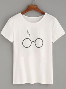White Glasses Lightning Print T-shirt