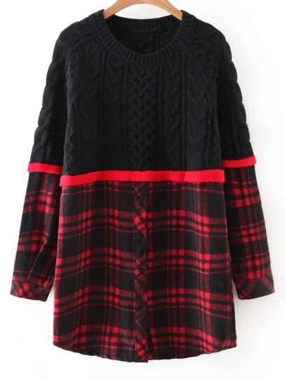 Color Block Plaid Button Front Long Sweater