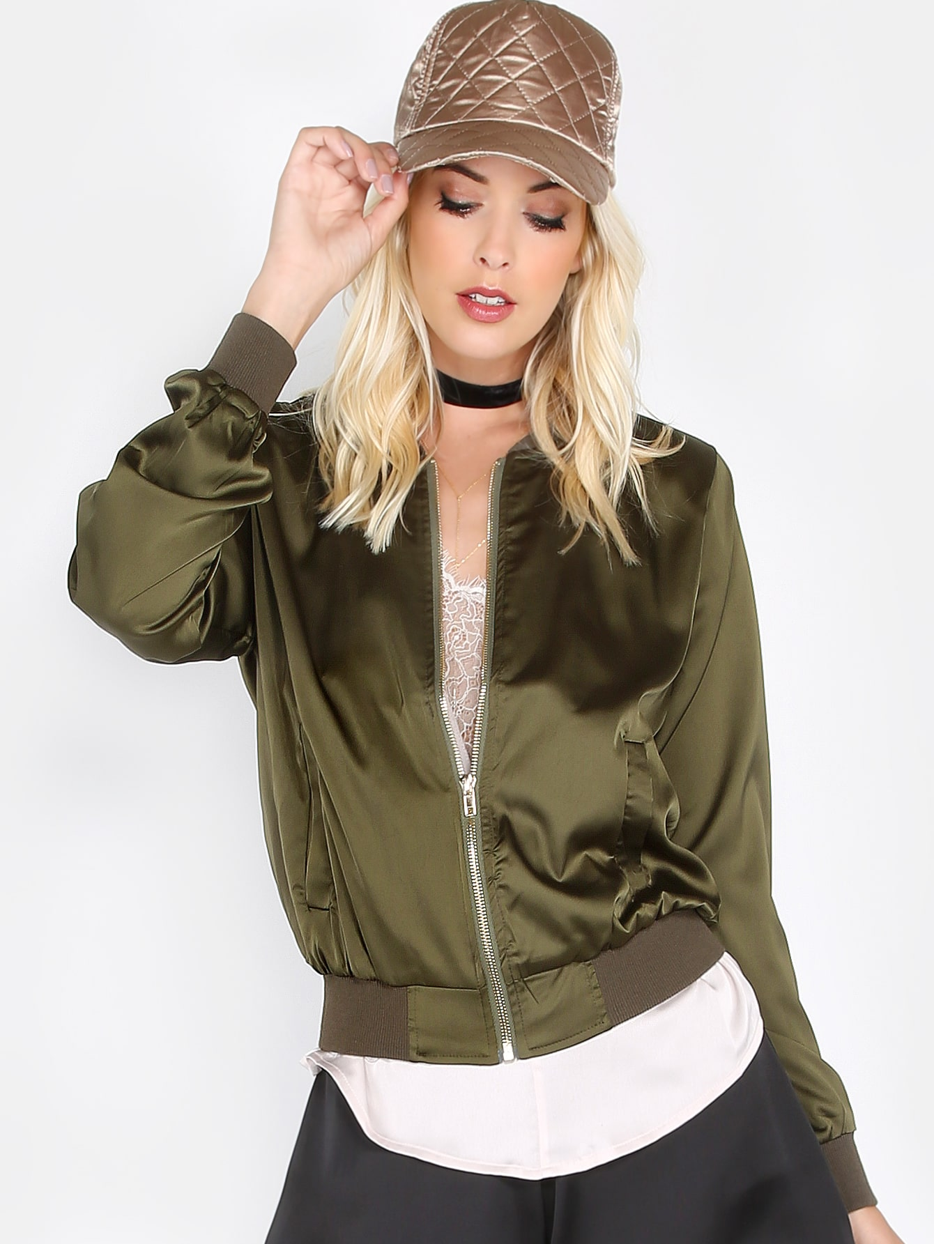 Ribbed Collar Silky Bomber Jacket OLIVE