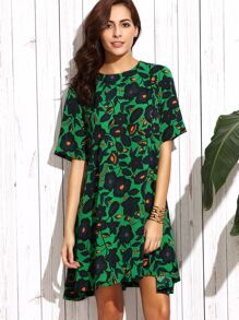 Tropical Print Swing Dress